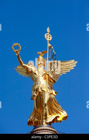 The Siegessaule column or Victory Column in Tiergarten Berlin Germany - Stock Photo