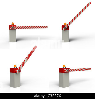 Barrier gate 3d rendering on white background - Stock Photo