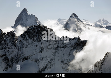 An early morning view on the Haute Route ski tour, Switzerland. - Stock Photo