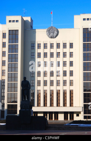 The House of Government in Independence Square, Minsk, Belarus - Stock Photo