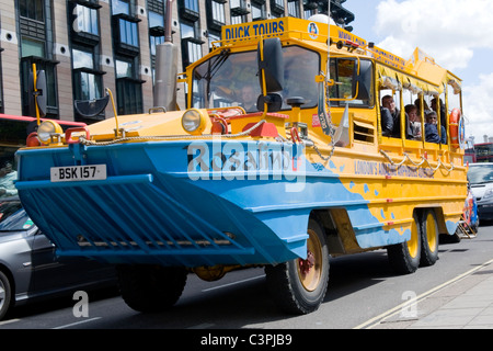 London , Westminster , DUKW or Duck Tours amphibian transport vehicle bus boat Rosalind - Stock Photo