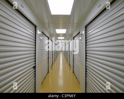 Private Indoor Lockers of a Secure Storage Facility. - Stock Photo