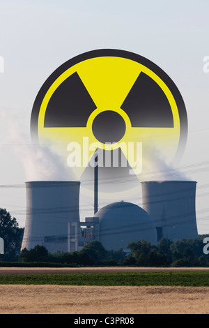 Germany, Nuclear power plant with radioactive warning symbol - Stock Photo