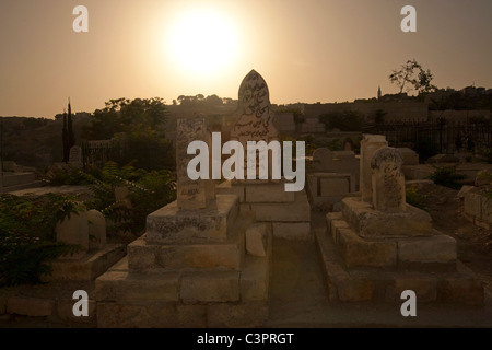 A cemetery near the Western Wall in the Old City of Jerusalem in Israel. - Stock Photo