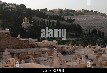 Cemeteries near the Western Wall of the Old City of Jerusalem in Israel. - Stock Photo