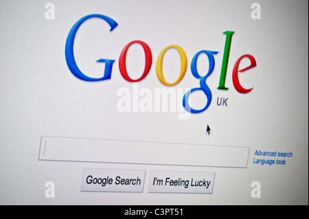 Close up of the Google logo as seen on its website. (Editorial use only: print, TV, e-book and editorial website). - Stock Photo