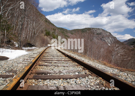 Crawford Notch State Park - Old Maine Central Railroad in the White Mountains, New Hampshire USA. - Stock Photo