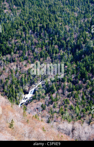 Crawford Notch State Park - Silver Cascade n the White Mountains, New Hampshire USA - Stock Photo