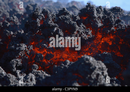 Italy, Sicily, Close up of lava flow from Etna volcano - Stock Photo