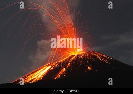 Indonesia, Sumatra, Krakatoa volcano erupting - Stock Photo
