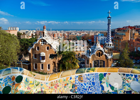 Barcelona, Park Guell By Architect Antoni Gaudi - Stock Photo
