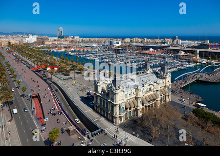 A view of Barcelona Harbor, Catalonia, Spain, showing the harbor - Stock Photo