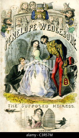 A scene from the novel Penelope Wedgebone, the supposed heiress by Lieutenant-Colonel Hort - Stock Photo