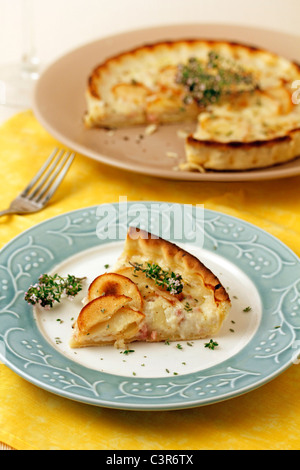 Quiche with potatoes and cheese. Recipe available. - Stock Photo
