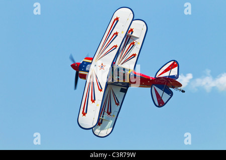 A Pitts S2a Aerobatic bi-plane during its display - Stock Photo