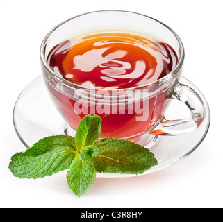 Cup tea with mint isolated on a white background. - Stock Photo