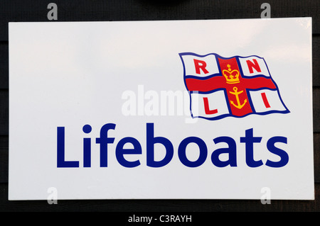 RNLI Lifeboats Sign, Southwold Lifeboat Station, Suffolk, England, UK - Stock Photo
