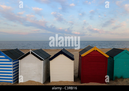 Beach Huts at Southwold, Suffolk, England, UK - Stock Photo
