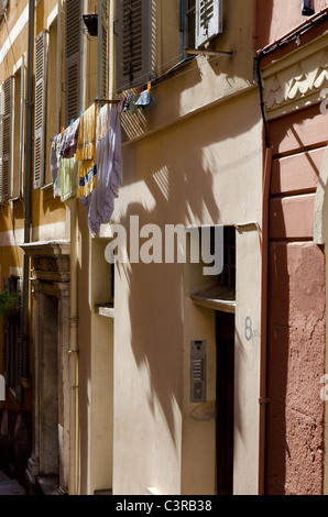 Back street in the old town area of Nice - Stock Photo