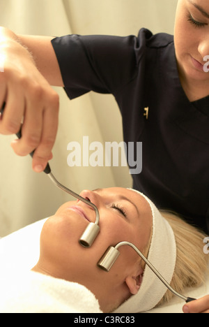 Close up of face massage - Stock Photo