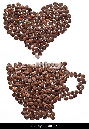 Coffee beans in form of heart and cup isolated on a white.