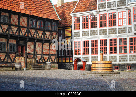 Buildings in Old Town, Den Gamle By, Arhaus, Denmark. An open air museum. - Stock Photo