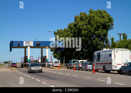Tolls being collected along National Route 3 in Buenos Aires province, Argentina. - Stock Photo