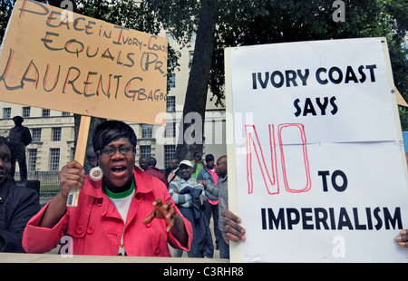 pro President Gbagbo supporters protest French & UN interference, rigging election & creating civil war in the Ivory - Stock Photo