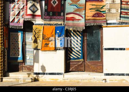 Hanging colourful rugs - Dahab, Sinai Peninsula - Egypt - Stock Photo