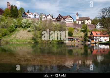 Blick auf die Altstadt von Berneck, Landkreis Calw, Baden-Württemberg, Deutschland - Stock Photo