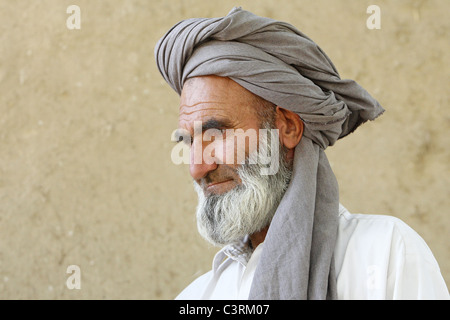 Portrait of a father who lost his wife and two children, Kunduz, Afghanistan - Stock Photo