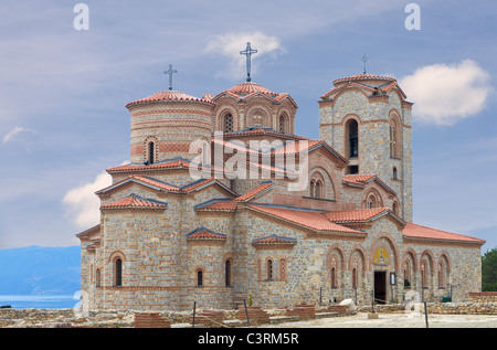 Holy historic church Saint Panteleimon founded by Clement on the coast of lake Ohrid in town Ohrid Macedonia - Stock Photo