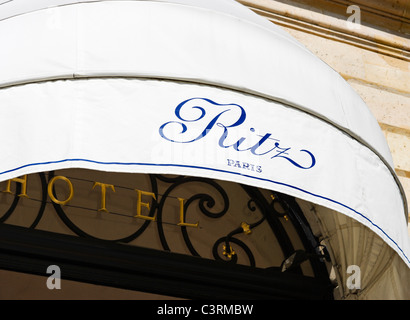 Awning over the entrance to The Ritz Hotel, Place Vendome, Paris, France - Stock Photo