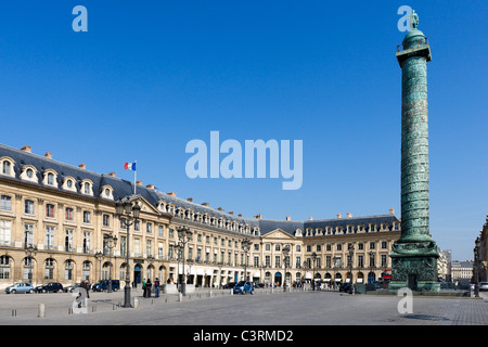 The Ritz Hotel, Palace of Justice and column of Napoleon, Place Vendome, Paris, France - Stock Photo