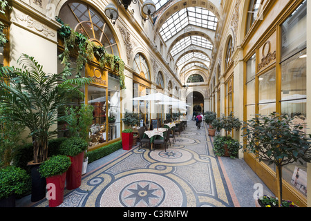 Shops and cafe in the Galerie Vivienne in the 2nd Arrondissement, Paris, France - Stock Photo