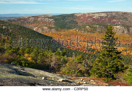 Southwestern view from Cadillac Mountain, Acadia National Park, Maine, USA - Stock Photo