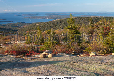 Southern view from Cadillac Mountain, Acadia National Park, Maine, USA - Stock Photo