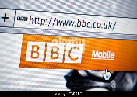 Close up of the BBC logo as seen on its website. (Editorial use only: print, TV, e-book and editorial website). - Stock Photo