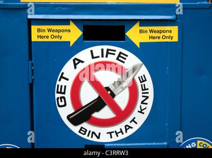 Close up of a knife amnesty deposit bin ('Get A Life Bin That Knife') on Hounslow High Street, Middx, UK. - Stock Photo