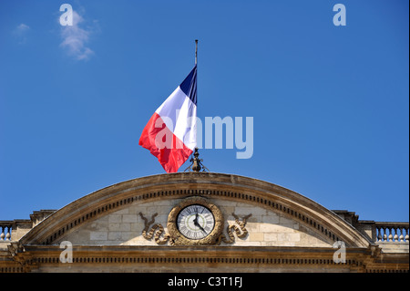 france, bordeaux, town hall, french flag - Stock Photo