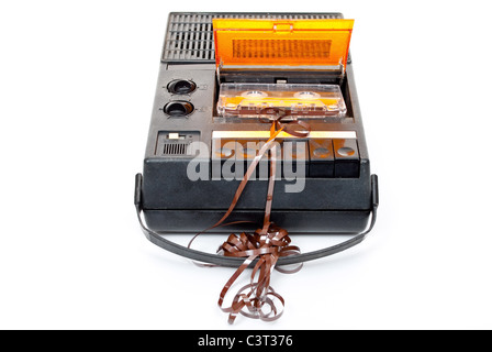 Magnetic audio tape cassette recorder - Stock Photo