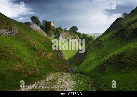 Cave Dale and Peveril Castle, Castleton. Peak District National Park. Derbyshire. England. UK. - Stock Photo