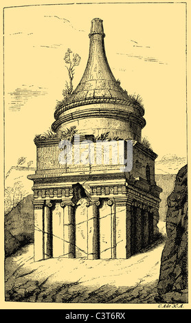 Tomb of Absalom, Absalom's Pillar in the Kidron Valley in Jerusalem, Israel - Stock Photo