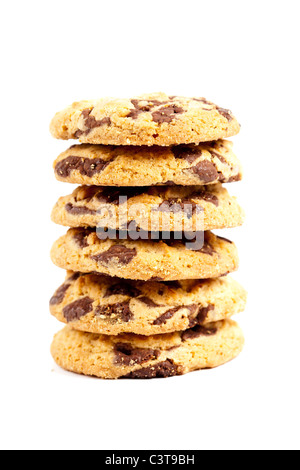 Closeup of a pile of biscuits with chocolate chips - Stock Photo