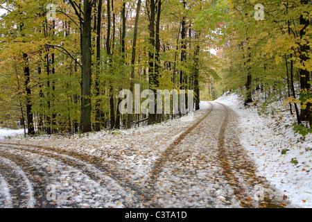 A Snowy Lane In Autumn Near Traverse City Michigan, USA - Stock Photo