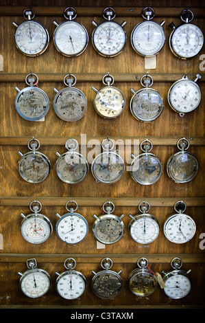 Stopwatches in the Hanhart watch factory, Guetenbach, Germany - Stock Photo