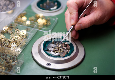 Production of watches in the Hanhart watch factory, Guetenbach, Germany - Stock Photo