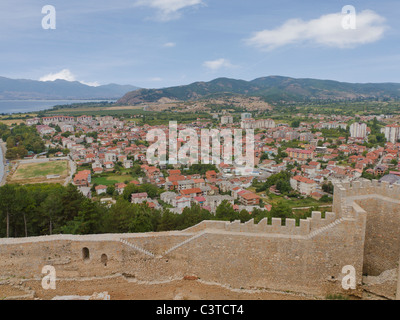Old town Ohrid with it's famous red roofed houses on the coast of lake Ohrid in Macedonia - Stock Photo