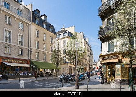 The corner of Rue Francois Miron and Rue Tiron in the Marais district, Paris, France - Stock Photo