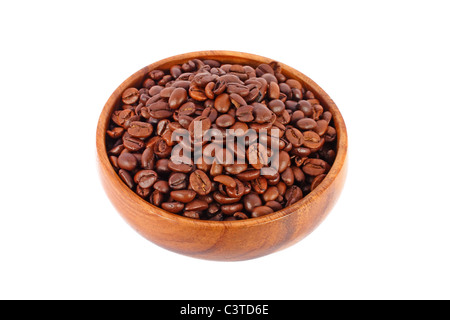 Coffee beans in wooden bowl isolated on white - Stock Photo